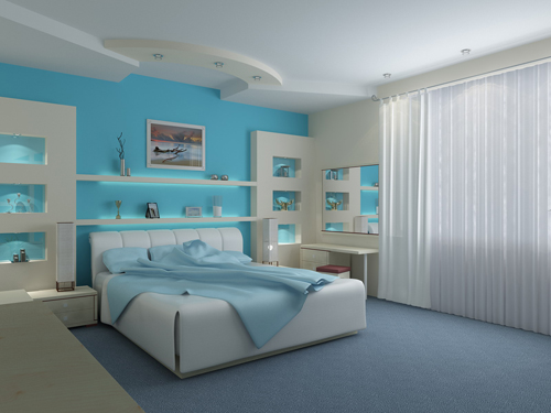 Blue Color Matching in White Bedroom Furniture
