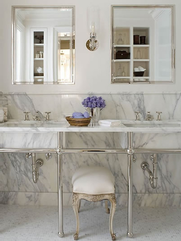 Beau White 1920s Bathroom Lighting Design