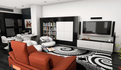 modern combined living and dining room