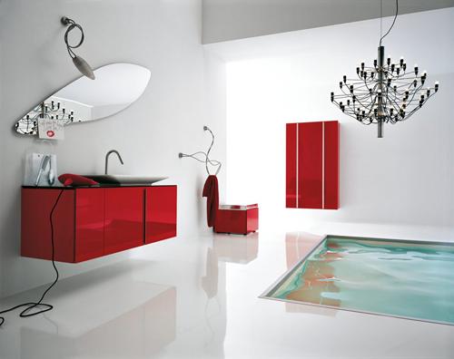 white red Modern Bathroom