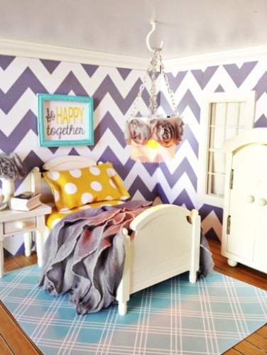 Aqua Grey and Yellow Bedroom in Pattern