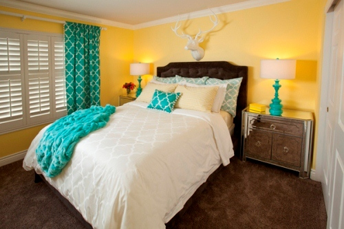 Aqua Grey and Yellow Bedroom