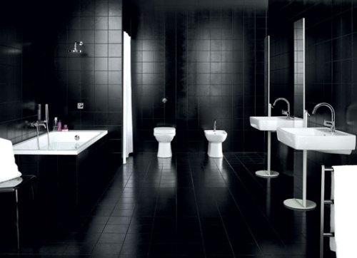 Bathroom with Black Floor Tiles
