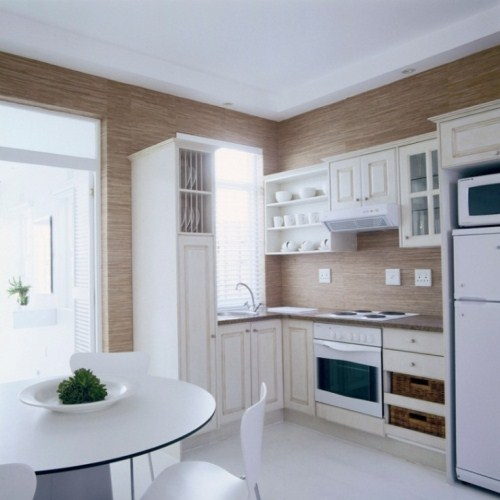 Kitchen Design for Small Apartment in White