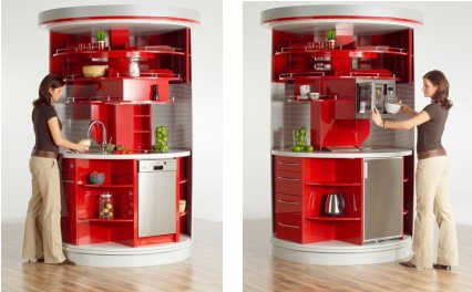 Small Kitchen Contemporary Design in Red