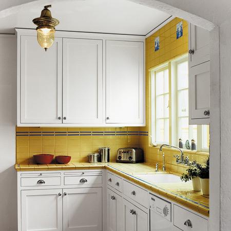 Small Kitchen Contemporary Design in White