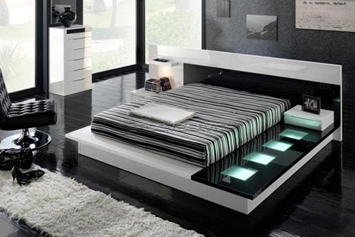 Black Color Matching in White Bedroom Furniture