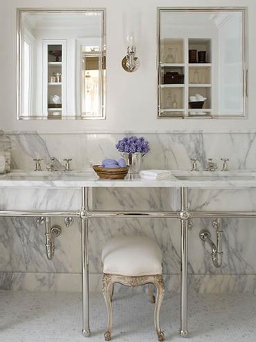 White 1920s Bathroom Lighting Design