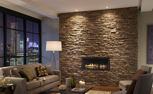 stone wall in the fireplace
