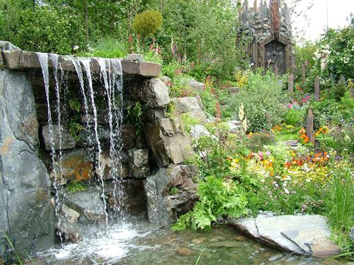 waterfall pond garden idea