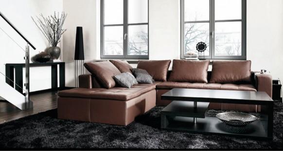 Living Room with Dark Furniture Interior Design