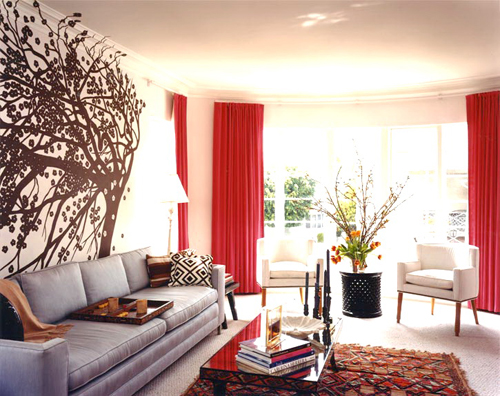 Living Room with Red and Brown