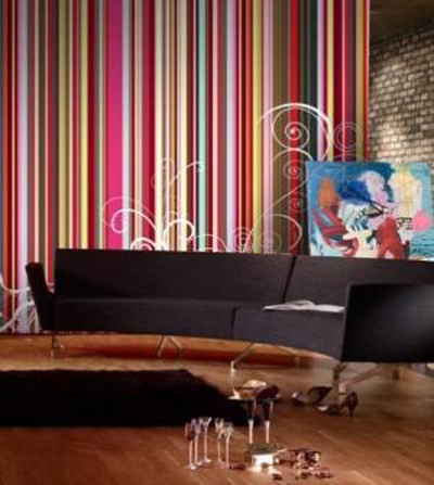Rainbow Stripes Whimsical Wallpaper