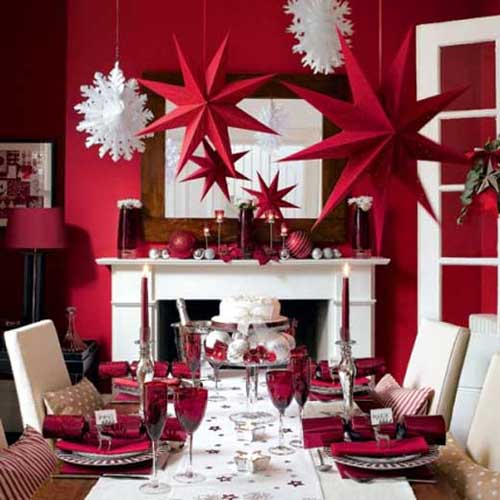Red color combo dining room