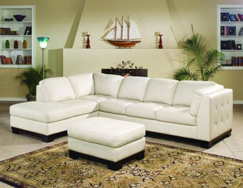 Simple Ivory Leather Sofa
