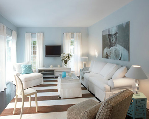 interior decoration with color combo blue brown cream