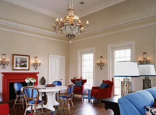 Interior Decoration With Color Combo Red Blue And Cream
