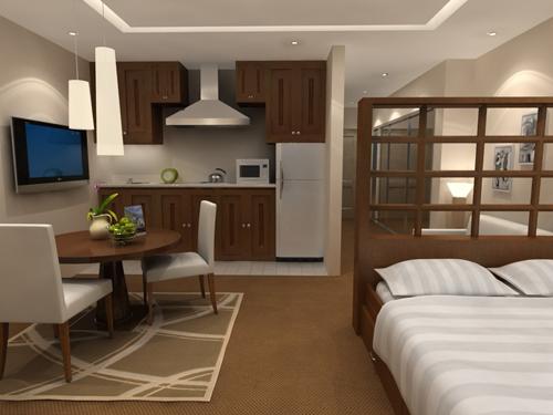Brown Studio Apartment Interior Design