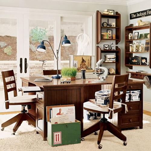 Brown Study Room Interior Design
