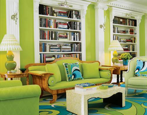 Lime Green Interior Design for Living Room