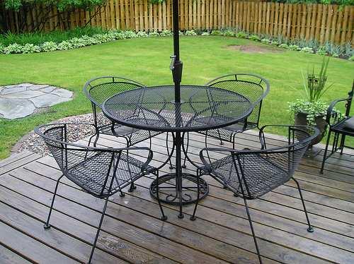 Vintage Wrought Iron Furniture In Garden