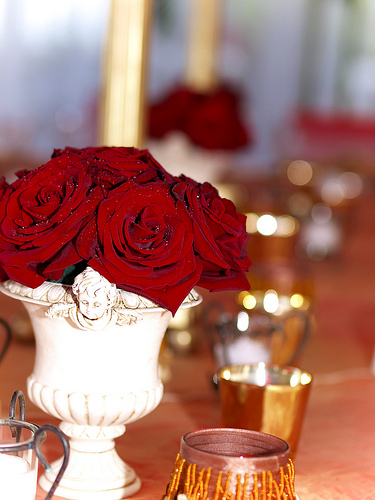 gold red roses