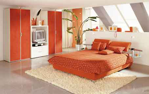 Orange Cheap Bedroom Design Ideas