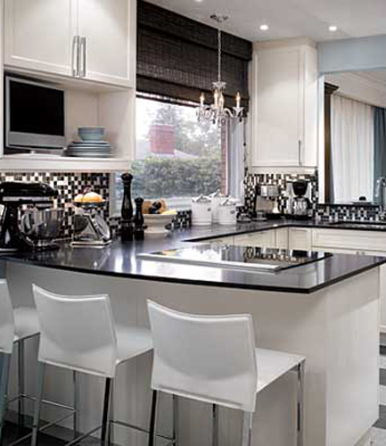 Crystal Chandelier in Kitchen