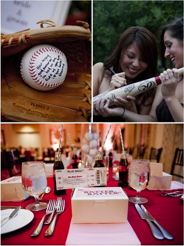 Wedding Baseball Themed Table Decoration