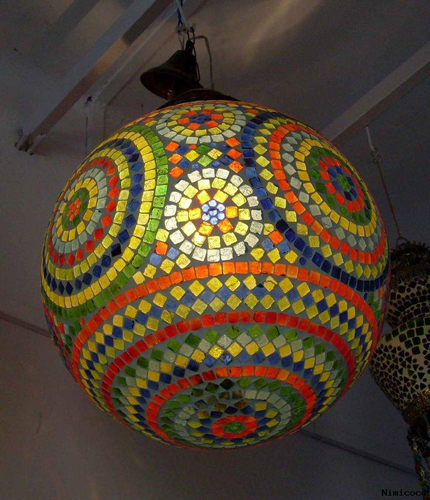 Ball Hanging Stained Glass Lamps