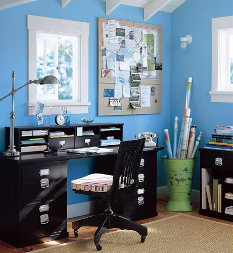 Blue Tropical Office Interior Design