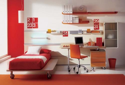 Red Modern Kids Bedroom