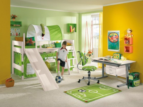 Green Modern Kids Bedroom with Playroom