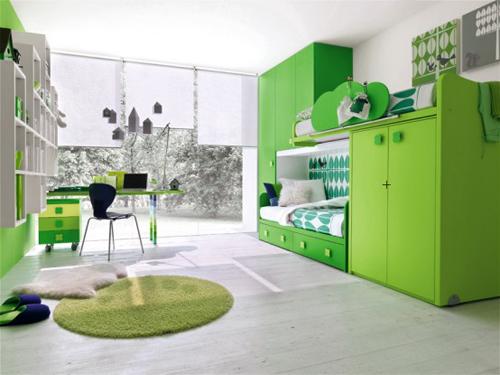 Green Modern Kids Bedroom