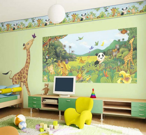 Modern Kids Bedroom Wall Painted Design with Animal