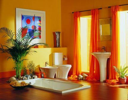 Orange Colorful Bathroom Design