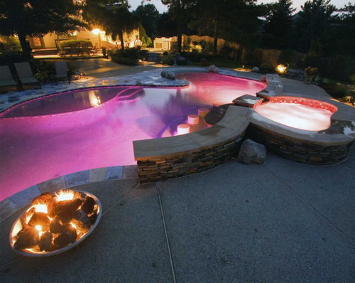 Pink LED outdoor lamps