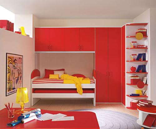 Red Modern Kids Bedroom Wall Painted Design