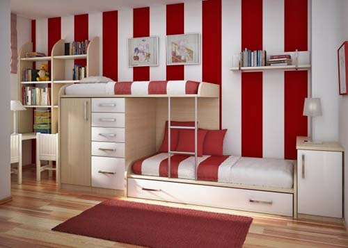 Sweet Red Modern Kids Bedroom