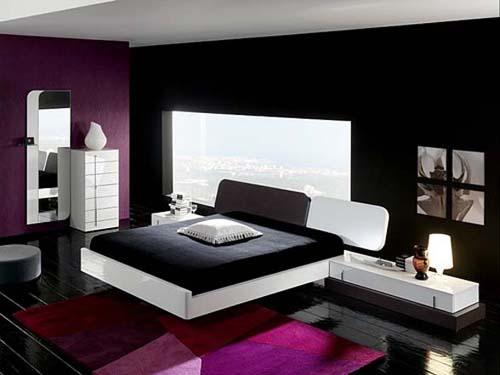Violet Black And White Bedroom Design for Men