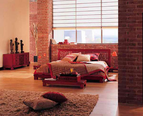 Chinese Red Wall Bedroom