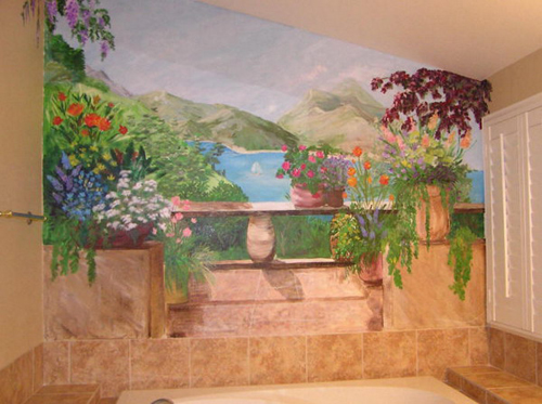 Flower Wall Mural Decoration for Bathroom