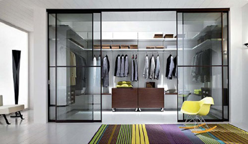 Glass Modern Walk in Closet Door