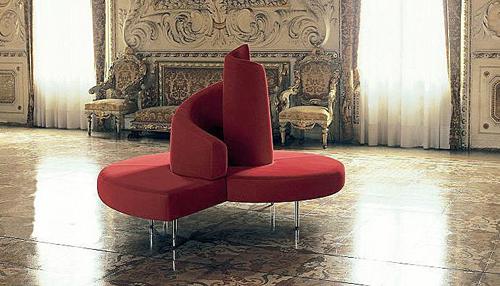 Red Circular Sofa Design