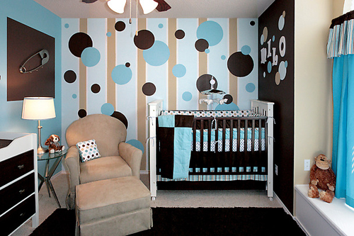 Blue and Brown Wall Accent