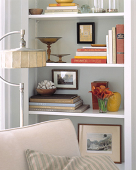 Bookshelf Decorating in White
