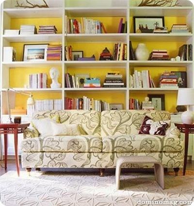 Bookshelf Decorating in Yellow Wall