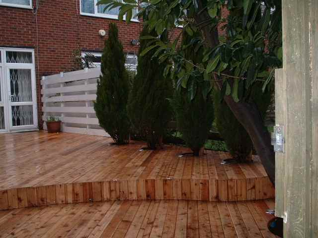Cedar Decking with Trees