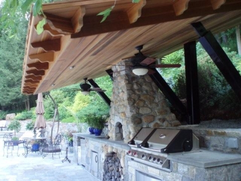 Outdoor Kitchen with Stone