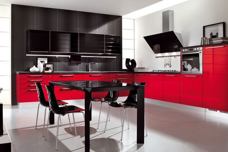 Black and Red Kitchen Ideas in Modern Style